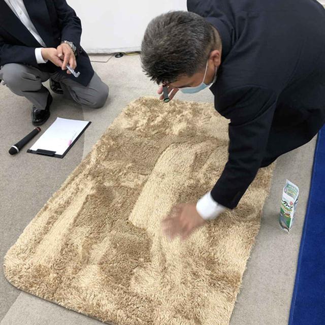 画像: 毛足の長いラグに隠すようにして、粒状のゴミを仕込む