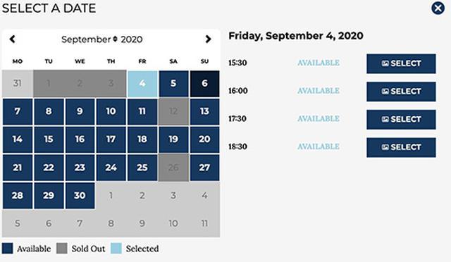 画像: 公式サイトの予約状況(2020年9月)、青が予約可能で、濃いグレーが完売 tickets.wbstudiotour.co.uk