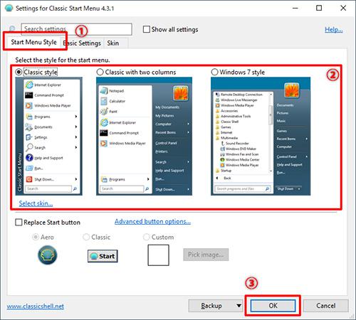 画像: ①②「Start Menu Style」タブから好みのスタイルを選択③画面右下の「OK」ボタンをクリック。