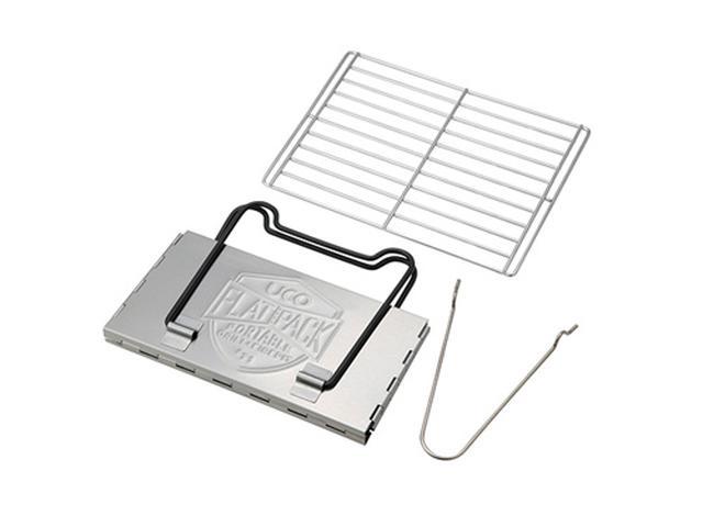 画像: ミニフラットパック グリル&ファイヤーピット(折り畳んだ状態)、付属品の焼き網