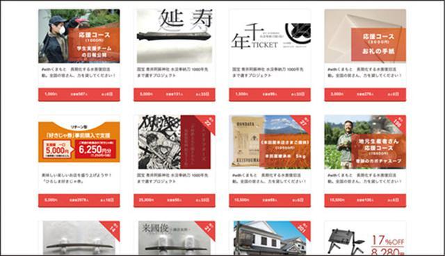 画像: トップページで「プロジェクトを探す」を選ぶと、人気順にリターンが並ぶ。初心者であれば、ここから絞り込んで検索するといい。