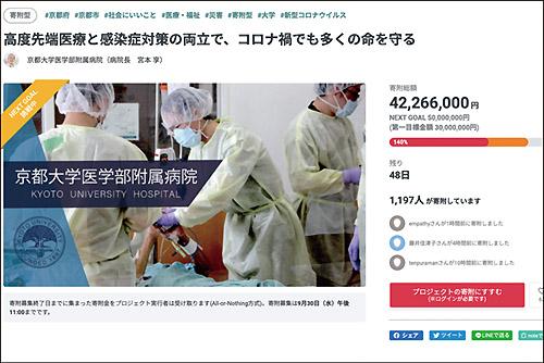 画像: 新型コロナ感染症の重症患者受け入れを行う京大病院の寄付型プロジェクト。第一目標はクリアし、さらなる寄付を募る。