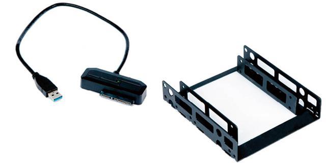 画像: SSDをUSB接続するためのSATA-USB変換ケーブル(左)と、SSDをデスクトップパソコンに固定するためのブラケット(右)。