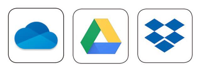 画像: 左からOneDrive、Googleドライブ、Dropbox