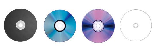 画像: 左からCD-R、DVD-R、BD-R、M-DISC