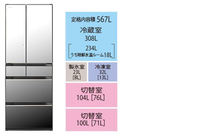 画像: R-KX57N ●ドア数/6 ●年間消費電力量/343kWh/年 ●省エネ基準達成率/100% ●サイズ/幅685㎜×高さ1833㎜×奥行き738㎜ ●重量/130kg