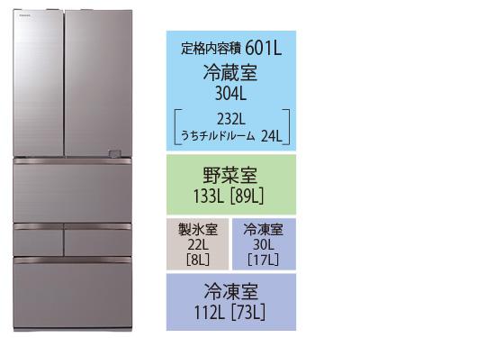 画像: GR-S600FZ ●ドア数/6 ●年間消費電力量/251kWh/年 ●省エネ基準達成率/123% ●サイズ/幅685㎜×高さ1833㎜×奥行き745㎜ ●重量/124kg
