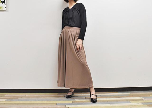 画像: ドレープ感が美しい「クレープジャージースカートパンツ」