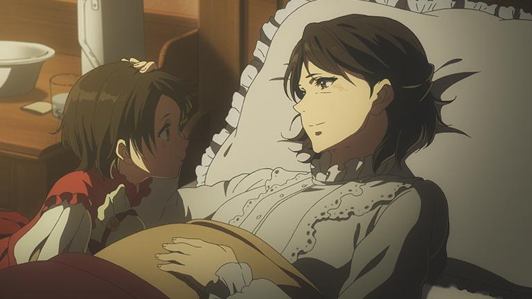 画像: テレビアニメ第10話で、病気の母親は一人娘のアンに50年分の手紙を託す tv.violet-evergarden.jp
