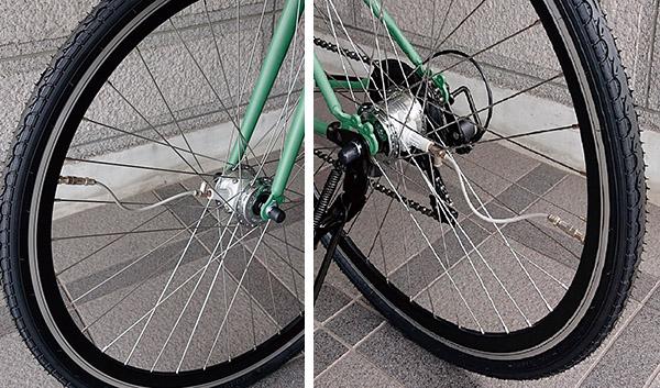 画像: 前後輪にエアハブを装備。ハブからチューブバルブにホースがつながっており、必要な分の空気が送り込まれる。