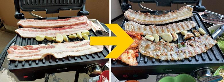 画像: 油受けトレーに余分な油を流し落とせるので、豚バラ肉を使ったサムギョプサルでも、しっかり油を落としてヘルシー。