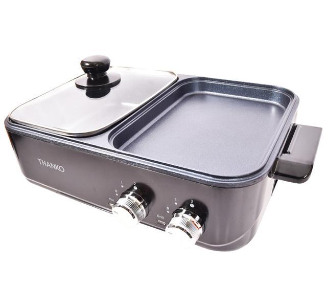 画像1: 二つのプレートで同時調理ができる小型ホットプレート