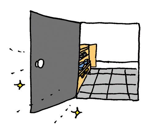 画像: 玄関のドアや窓を開けて風を通す。靴箱の扉もオープンに。 イラスト/すぎうらゆう