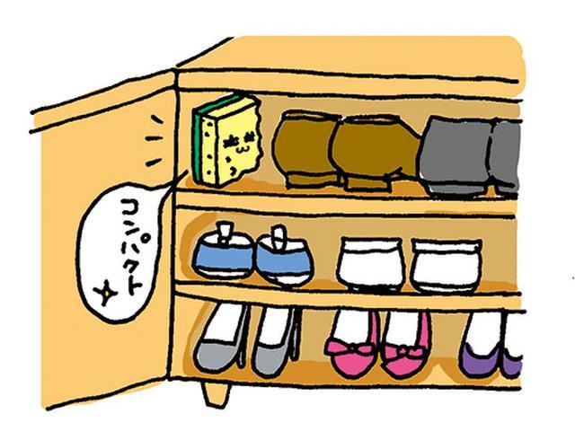 画像: スポンジなら靴箱の中にあっても邪魔にならない。 イラスト/すぎうらゆう