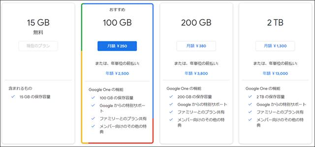 画像: 有料版の「Google One」のプラン
