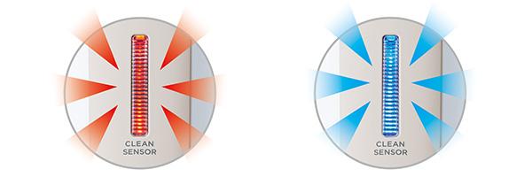 画像: 左:ゴミがあると赤の点滅、右:きれいになると青く点灯