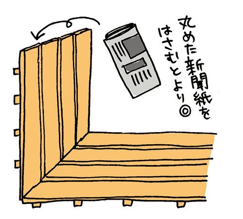 画像: すのこは床面と壁面に置いて、丸めた新聞紙をはさむと通風・除湿できる。 イラスト/すぎうらゆう