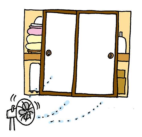 画像: 扇風機で風を送るのも効果的。左右から戸を開けて、空気を循環させる。 イラスト/すぎうらゆう