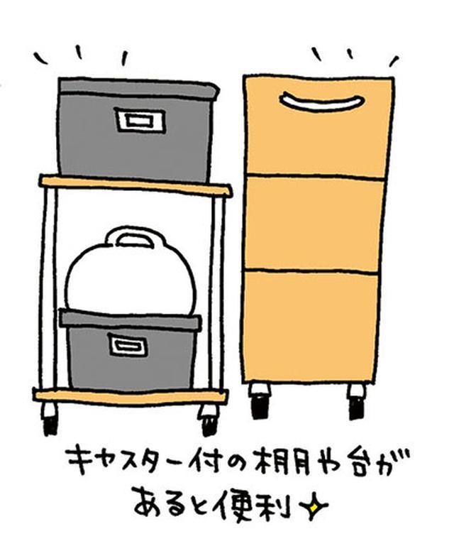 画像: 奥行きのある引出しや、キャスターつきの棚や台があると、押入の奥行を有効活用できる。 イラスト/すぎうらゆう