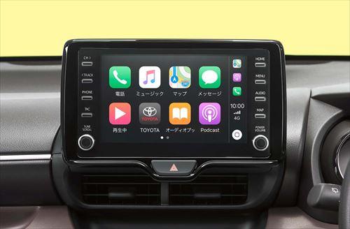 画像: トヨタ「ヤリス」のディスプレイオーディオ。CarPlay/Android Autoには今年から無料オプションとなった