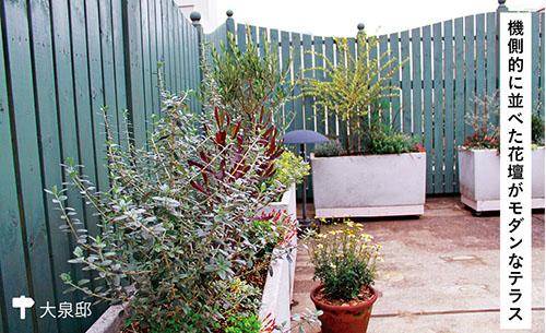 画像: 無機質になりがちなコンクリートのテラスも、少しの草花あしらいで変身! 同じ規格の花壇を規則的に並べた空間は、ほどよくモダンな空気をまといます。