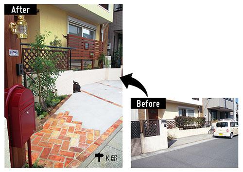 画像: 駐車場の床面にはレンガを組み込み、少ない土の部分を生かして低木や草花を植え込み、庭の中に駐車スペースがあるイメージに。