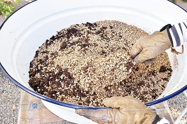 画像: ①腐葉土と赤玉土を混ぜる