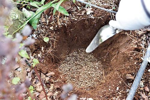 画像: ②つくった土を穴に入れる