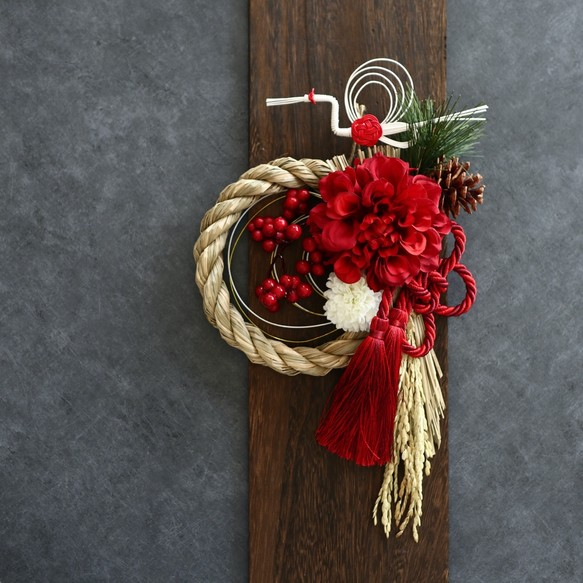 画像: 【早割】牡丹と鶴の紅白しめ縄(中)*Creema限定 お正月飾り アーティフィシャルフラワー