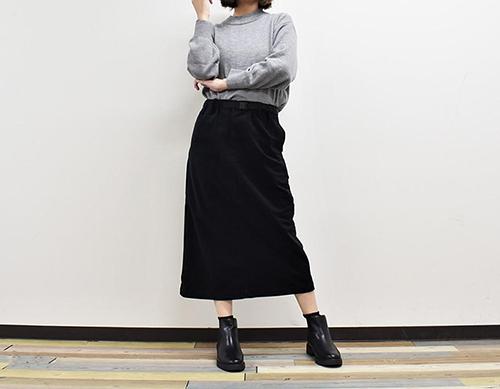 画像: 履き心地のいい「ニットコーデュロイスカート」