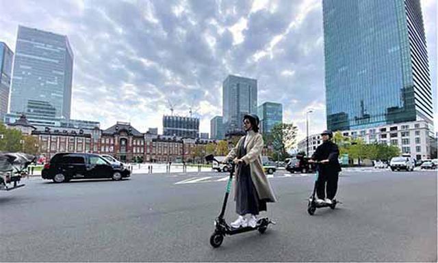 画像: 東京・丸の内地区で自転車レーンを活用した電動キックボードの実証実験が来年3月末まで実施。まちづくり協議会と共にマイクロモビリティにおける様々な課題を検討する(写真提供:Luup)