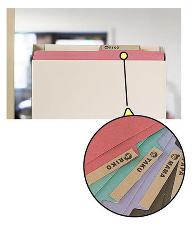 画像: ファイルボックスはきょうだい分の仕切りをつくる。さらに名前のラベルを貼れば完ペキです!