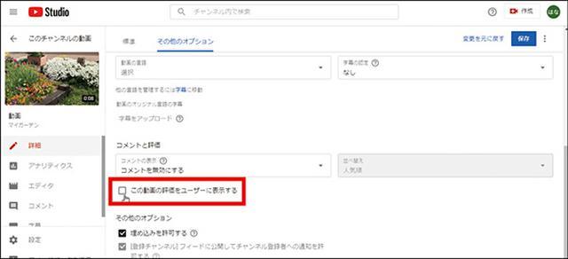 画像: 動画の編集画面の「その他のオプション」タブで、「この動画の評価をユーザーに表示する」のチェックを外す。評価数が非表示になるが、評価自体は可能だ。