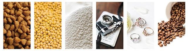 画像: 左から、ペットフード、穀類、粉類、精密機器、貴金属、コーヒー豆