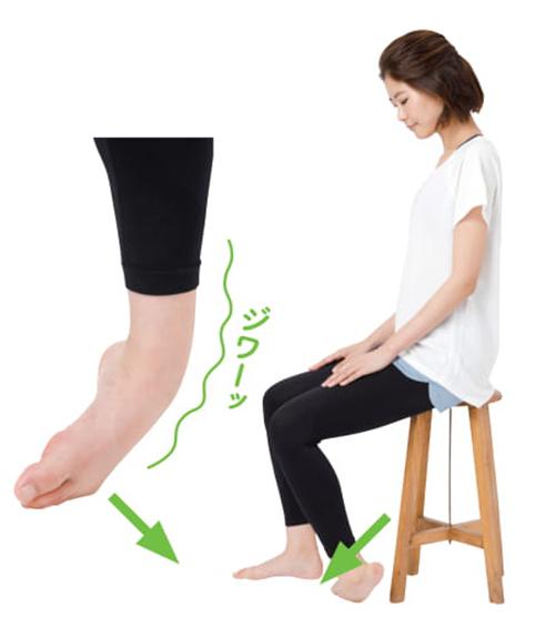 画像: ◆ポイント◆薬指、小指、足の甲の外側、すねの外側がのびることを感じればOK。その際、足指を強く床に押しつけないこと。
