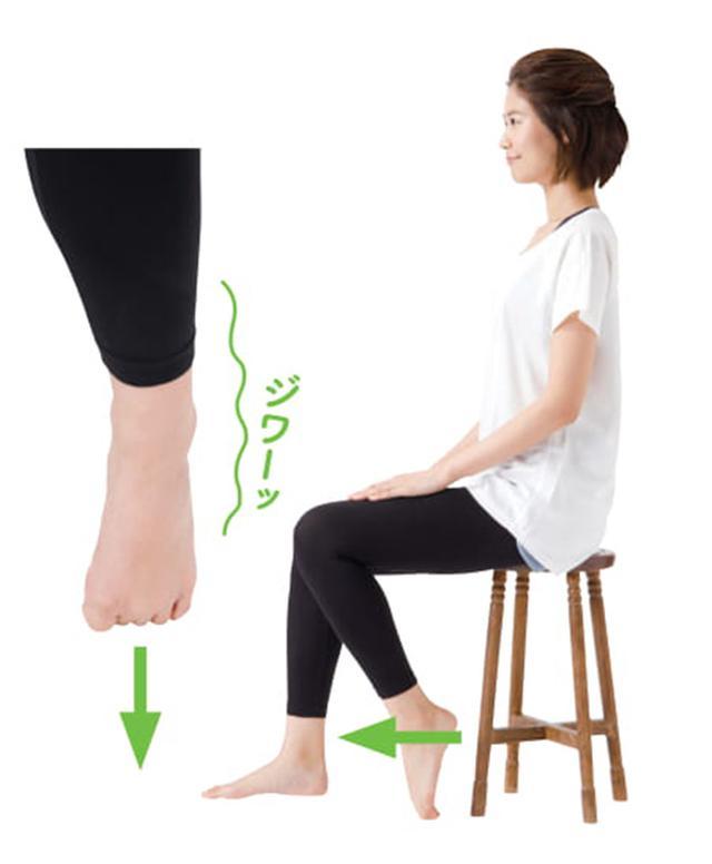 画像: ◆ポイント◆5本の指と足の甲全体、すねの前側がのびることを感じればOK。その際、足指を強く床に押しつけないこと。