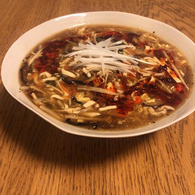 画像: 香酢をいれた酸辣湯麺(外処さん提供)
