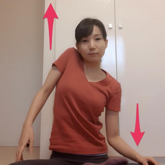 画像: 左の肩を上にあげ、右の肩を下げる