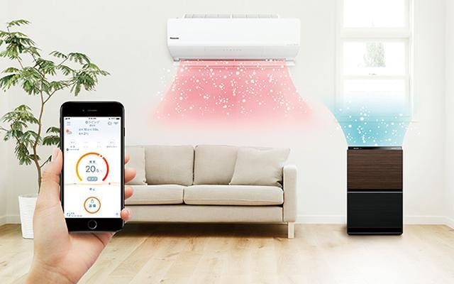 画像: アプリで暖房をオンにすると同時に加湿を開始。2018年以降発売の無線LAN搭載エアコンで連係可能。