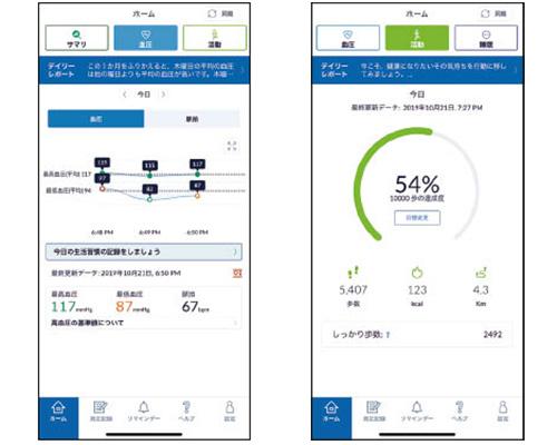 画像: iPhone、Androidのどちらでも利用でき(ブルートゥース接続)、測定したデータは「HeartAdvisor」という専用アプリで管理可能。アドバイスも表示される。