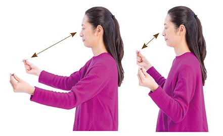 画像: ペンと目の距離を変える