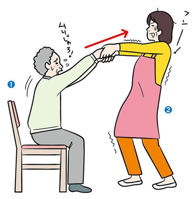 画像: イスからの立ち上がり介助の勘違い 手を斜め上に引っ張って 立ち上がらせていませんか?