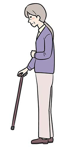 画像: ①杖を前に出す
