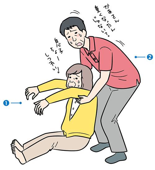 画像: 立ち上がり介助の勘違い 後ろから脇の下に手を入れ、 真上に引き上げていませんか?