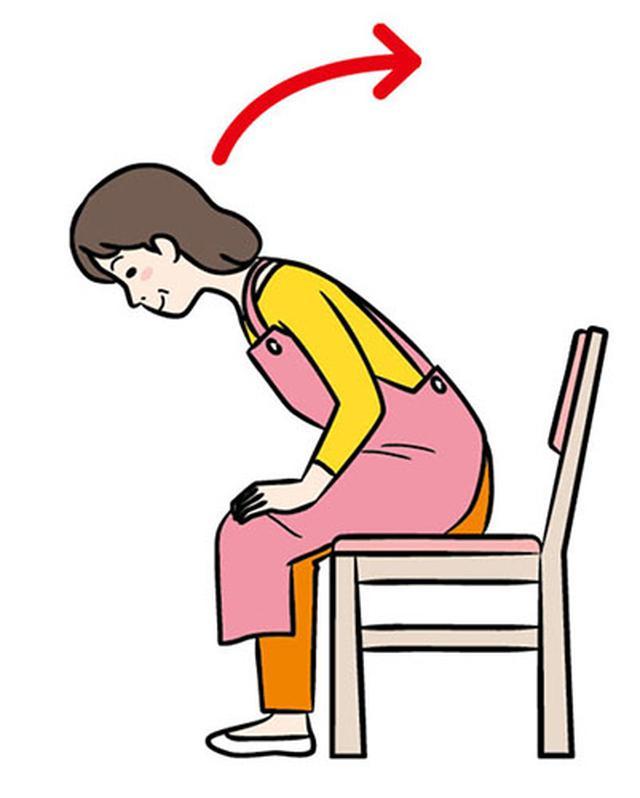 画像: ②お尻がついたら上体を起こす