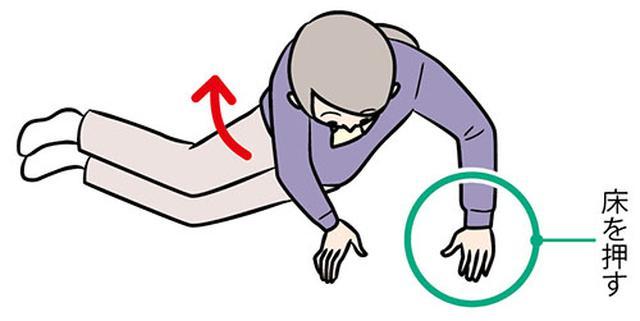 画像: ③ひじを伸ばして 上体を起こして座る