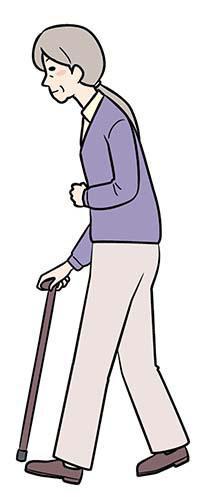画像: ①杖とマヒのある側の足を一緒に出す