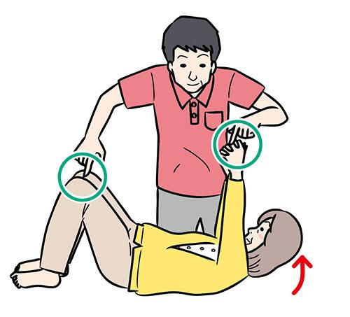 画像: ①人さし指をひざと手に置く