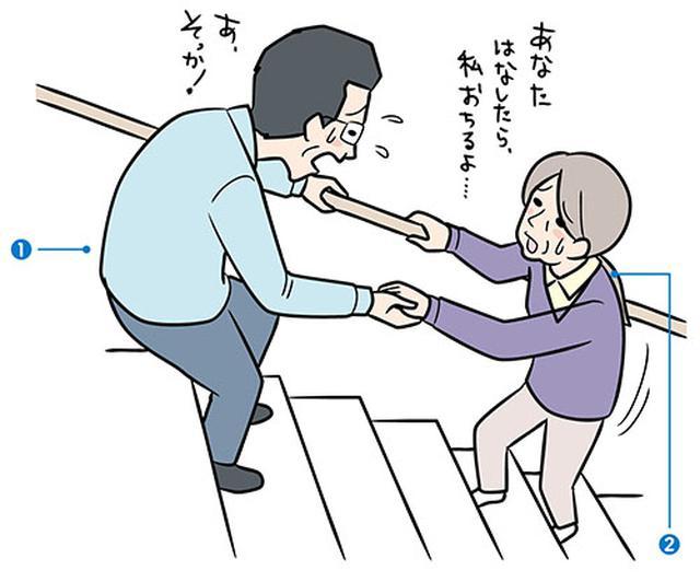 画像: 階段昇降介助の勘違い 階段を上り下りする際、 上段から引っ張っていませんか?