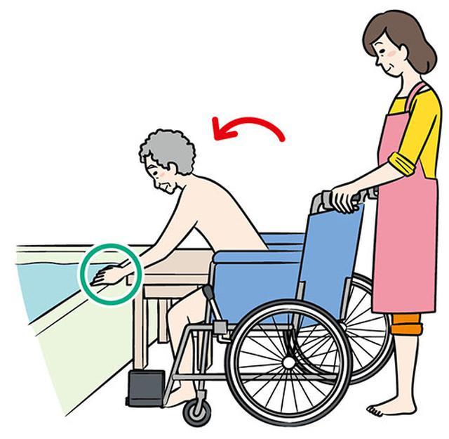 画像: ①手を浴槽のふちに置く